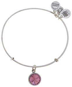 Alex and Ani ALEX AND ANI JEWELED CRYSTAL CHARM OCTOBER BIRTHSTONE SILVER BANGLE