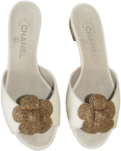 Chanel With Box Flower Low Heel Flat Ivory/Ecru & Gold Mules