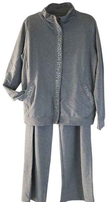 Item - Heather Gray 3x New Zip Snap Front Faux Jewel Sweatshirt/Hoodie Size 26 (Plus 3x)