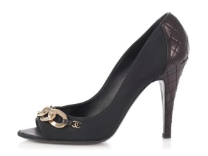 Chanel Chain Quilted Cc Peep Toe Ch.ep0419.05 Black Pumps