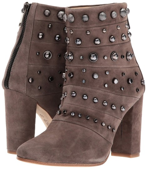 Badgley Mischka Suede Leather Studded Ankle Taupe Boots Image 7