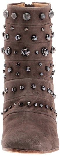 Badgley Mischka Suede Leather Studded Ankle Taupe Boots Image 5