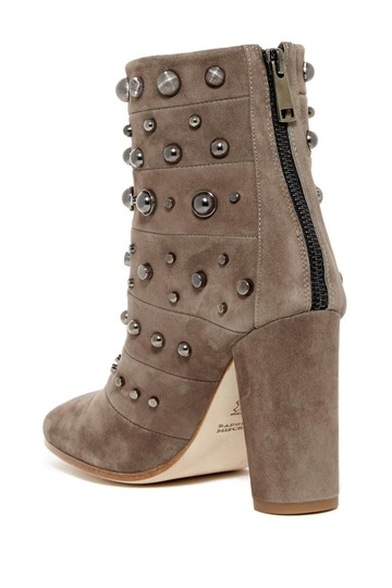 Badgley Mischka Suede Leather Studded Ankle Taupe Boots Image 8