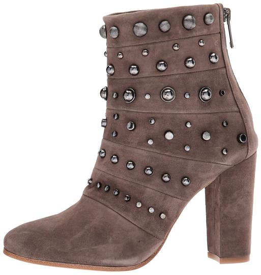 Badgley Mischka Suede Leather Studded Ankle Taupe Boots Image 1