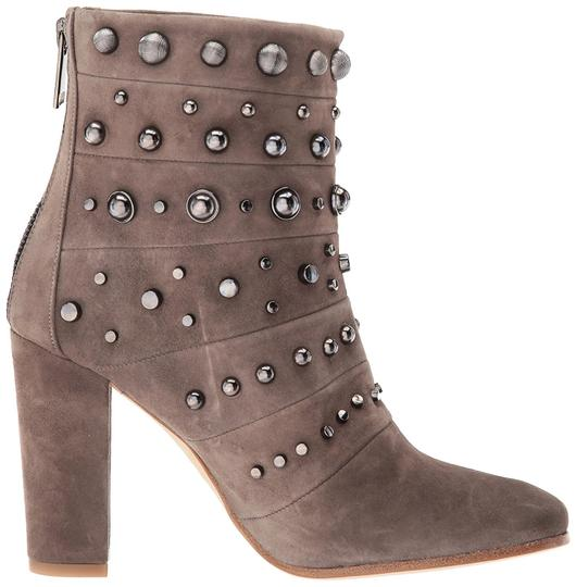 Badgley Mischka Suede Leather Studded Ankle Taupe Boots Image 10