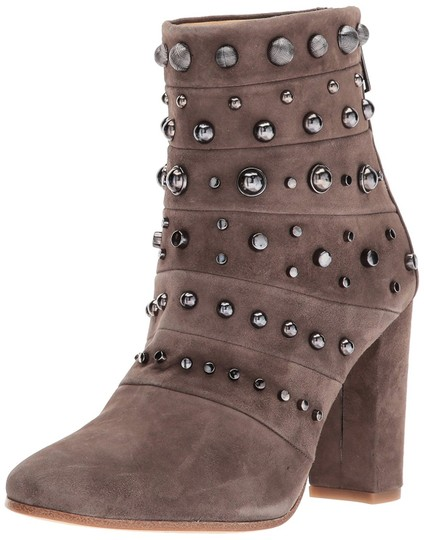 Badgley Mischka Suede Leather Studded Ankle Taupe Boots Image 11