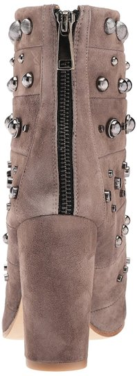 Badgley Mischka Suede Leather Studded Ankle Taupe Boots Image 6