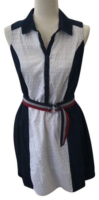 Preload https://img-static.tradesy.com/item/23470354/blue-and-white-denim-and-eyelet-lace-americana-short-casual-dress-size-6-s-0-1-650-650.jpg