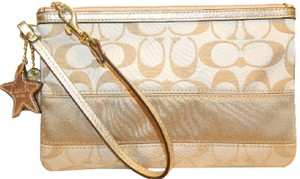 Coach Beach Nautical Sateen New Wristlet in Khaki/Metallic Gold/Gold