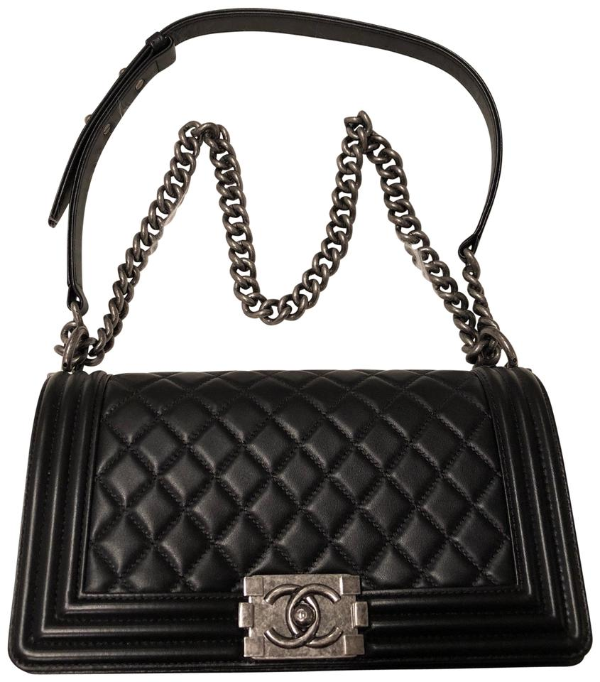 0737a3270f49 Chanel Boy Old Medium Le In Rhw Black with Ruthenium Hardware ...