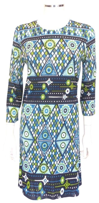 Item - Blue White and Green Patterned Shift Mid-length Work/Office Dress Size 6 (S)