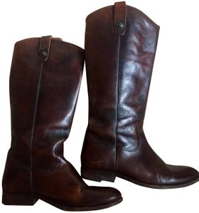 Frye Leather Riding Button Preppy Dark Brown Boots