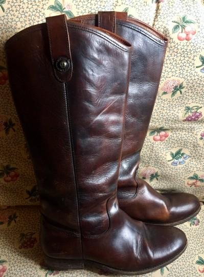 Frye Leather Riding Button Preppy Dark Brown Boots Image 1