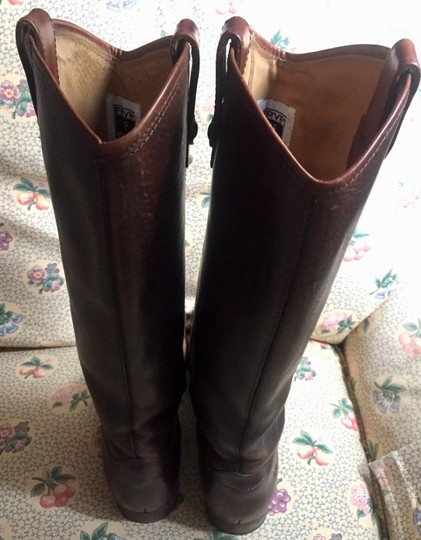 Frye Leather Riding Button Preppy Dark Brown Boots Image 2
