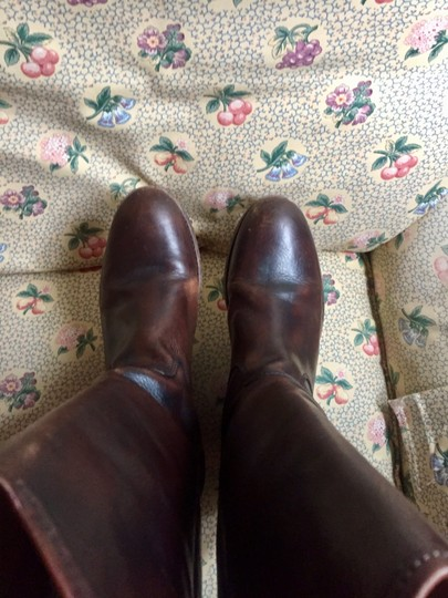 Frye Leather Riding Button Preppy Dark Brown Boots Image 3
