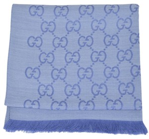 Gucci New Gucci Women's 165904 Nile Blue Wool Silk GG Guccissima Scarf