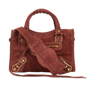 Balenciaga Leather Suede Satchel in Brown