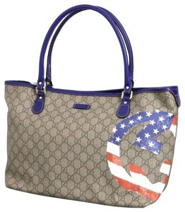 Gucci Handbag American Flag 203693 Tote in Beige/Ebony
