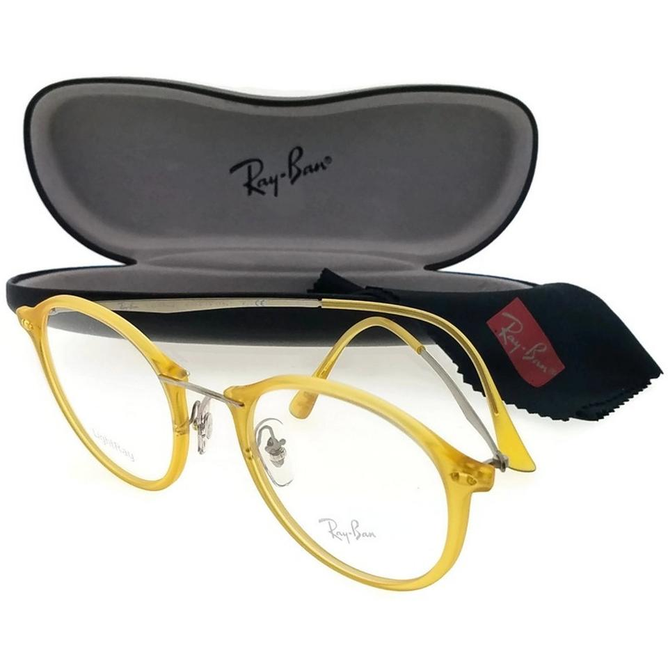 3a914518b28 Ray-Ban RX7073-5589 Light Ray Unisex Yellow Frame Clear Lens Eyeglasses ...
