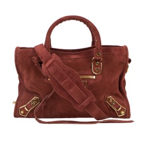 Balenciaga Leather Gold Hardware Suede Satchel in Brown