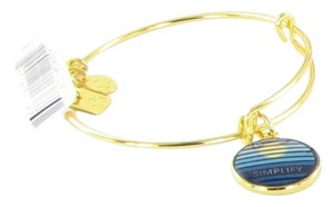 Alex and Ani SIMPLIFY Shiny Gold Charm Bangle New w/ Tag Card Box