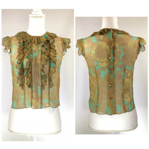 Anna Sui Ruffle Silk Semi-sheer Button Down Back Vibrant Top Olive Green Brown Turquoise Gold