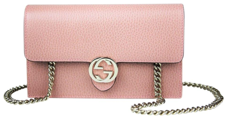 54d88bfefd2 Gucci Dust Pink Leather Interlocking GG Crossbody Chain Wallet 510314 5806  Image 0 ...