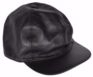 Gucci NEW Gucci Men's 368361 Black Calf Leather Baseball Cap Hat LARGE