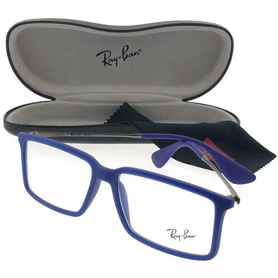 4eed9ad73bc7 Ray-Ban Rx7043-5467 Youngster Men's Blue Frame Clear Lens Genuine Sunglasses