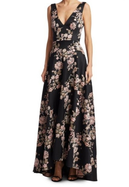 Item - Black Pink and Beige Brocade A-line Long Formal Dress Size 14 (L)