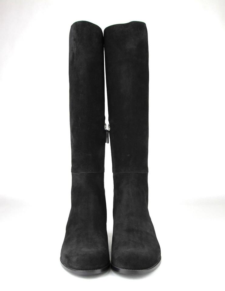 761f21ecffc Gucci Black Suede Leather Elastic Tall   9.5 370426 Boots Booties ...