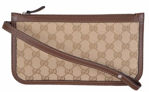 Gucci Purse Wallet Brown Wristlet in Beige