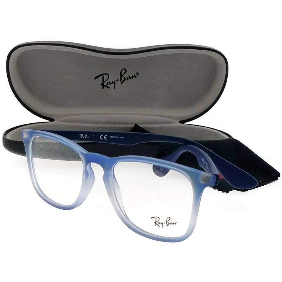 c24d04e073 Ray-Ban RX7074-5601 Youngster Unisex Blue Frame Clear Len Eyeglasses Image  0 ...