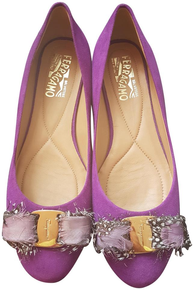 b449f1b6d5d Salvatore Ferragamo Purple Varina Suede Calf Feather Plume B Flats ...