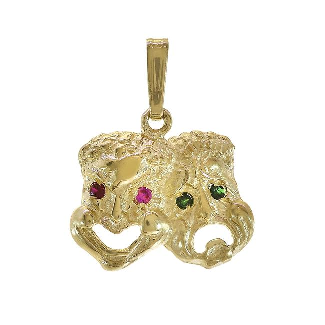 Item - Yellow Gold 14k Multicolor Cubic Zirconia Theater Mask Charm
