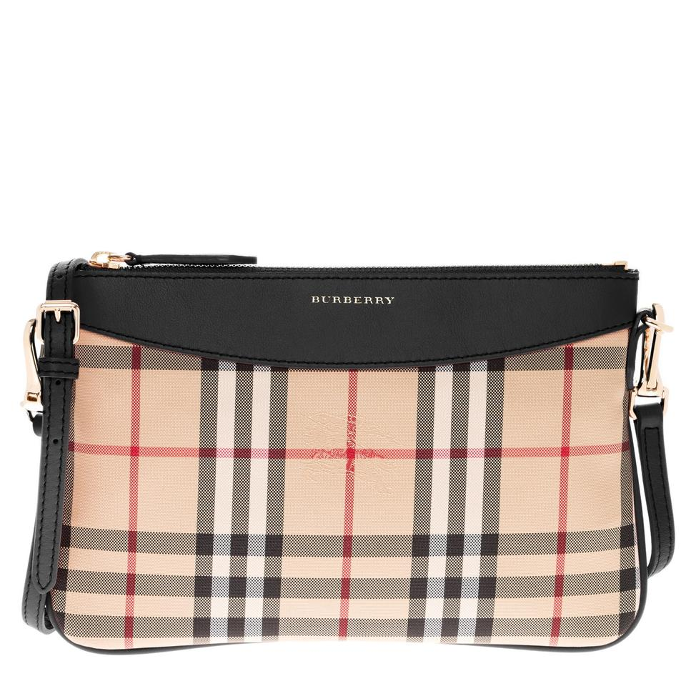 Burberry Women s Horseferry Check Peyton Clutch Beige + Black Cross ... 9be0f89887fc1