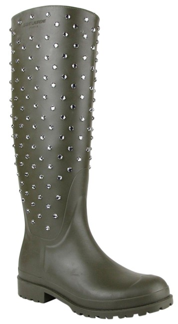 Item - Olive Green W Rubber Rain W/Diamond Studs 35/5 427307 2906 Boots/Booties Size EU 35 (Approx. US 5) Regular (M, B)