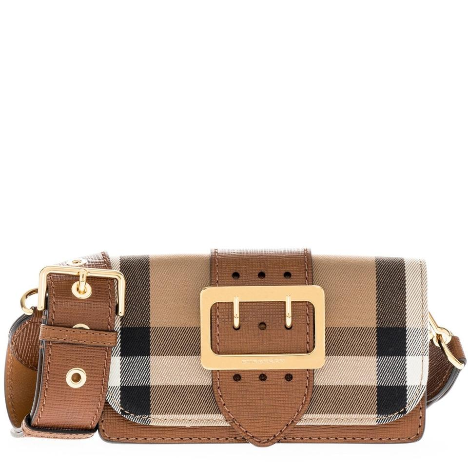 baadc0334d26 Burberry Women s Buckle In House Check and Leather Tan Black 40224 ...