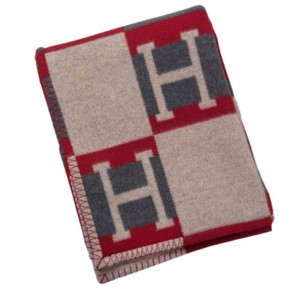 Hermès Avalon bayadere galet and coquelicot blanket