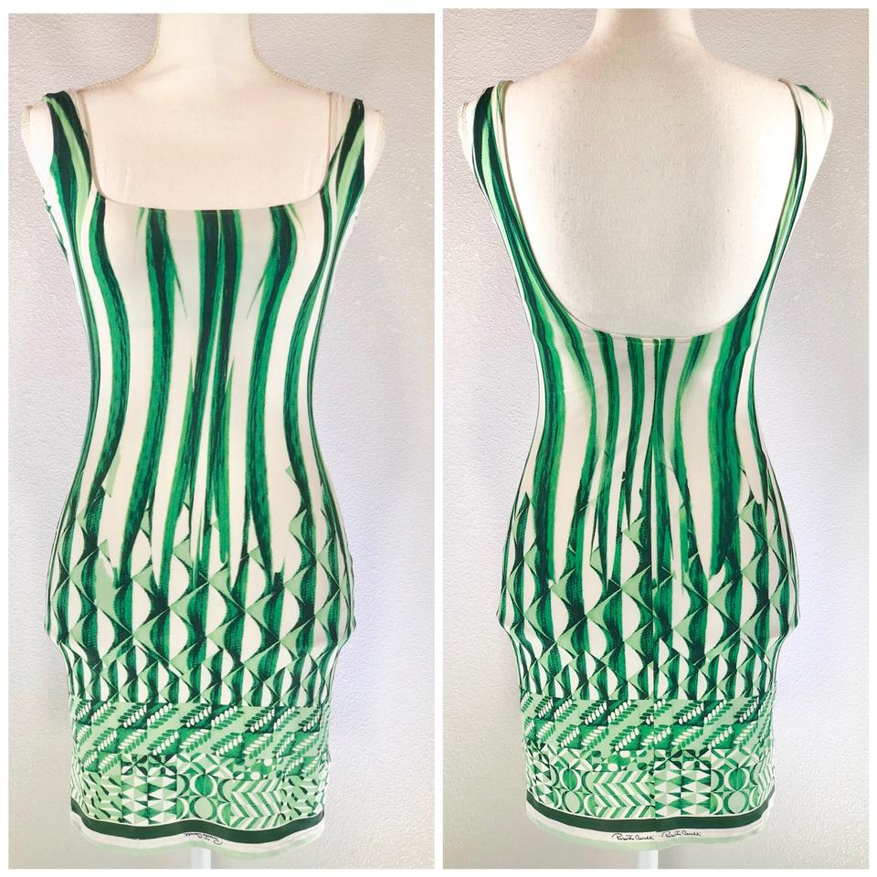 b2a2e690f6b Roberto Cavalli Green White Abstract Print Sleeveless Bodycon Mini Casual  Dress