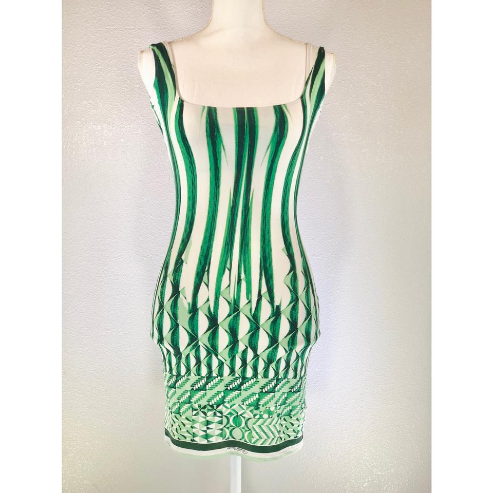 7eaa66b30fa Roberto Cavalli Green White Abstract Print Sleeveless Bodycon Mini ...