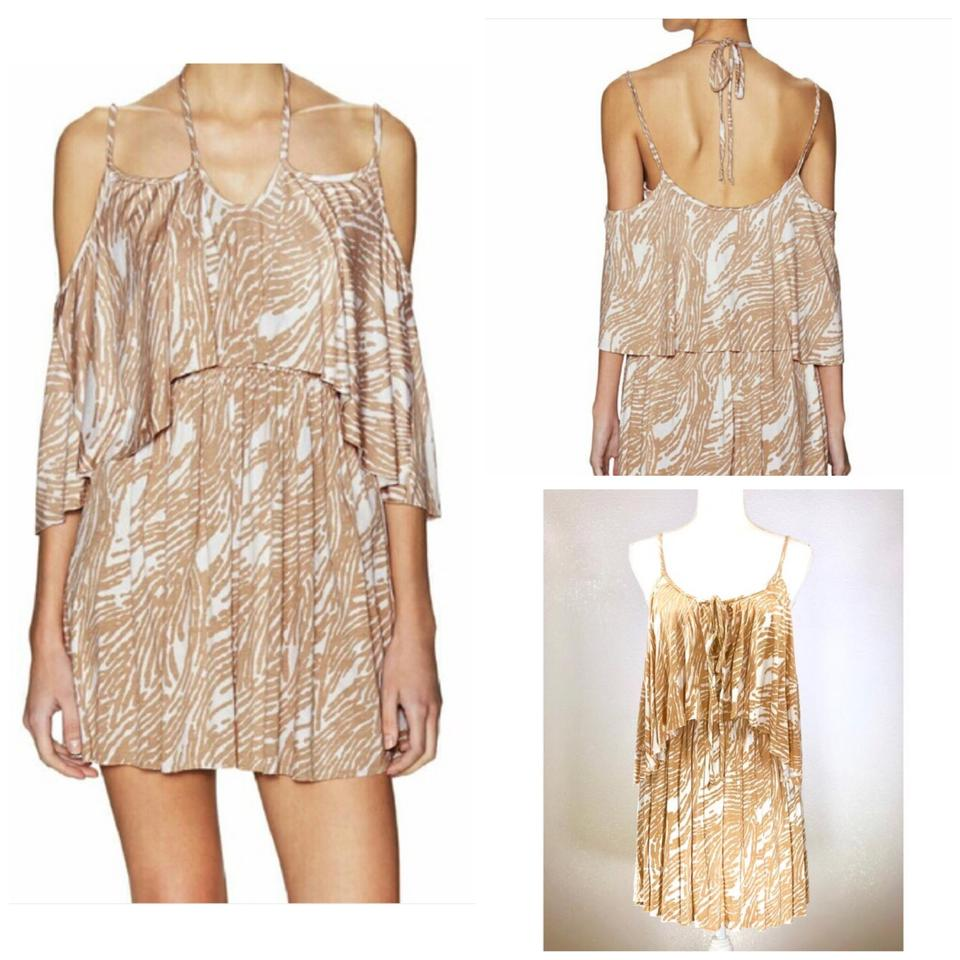 394ae9fbac23 Rachel Pally Bamboo Tan White  adaliz  Flutter Cold Shoulder Casual Dress