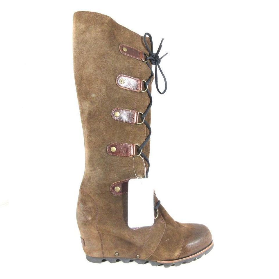 Sorel Brown - Leather Joan Of Arctic Lace Up Tall Wedge Boots ... 57e647b368ab2