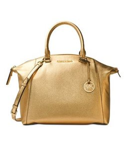Michael Kors Campbell Crossbody Peython Satchel in pale gold