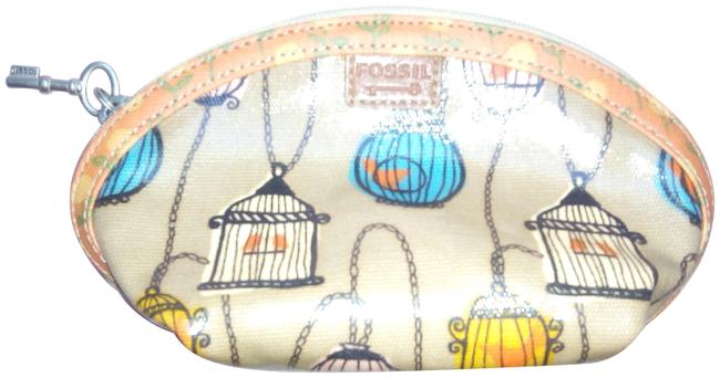 Item - New Rare Birdcage Key Per with Key Zipper Multicolor Coated Canvas Clutch