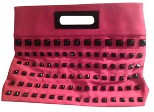 Thomas Wylde Studded Suede bright pink Clutch