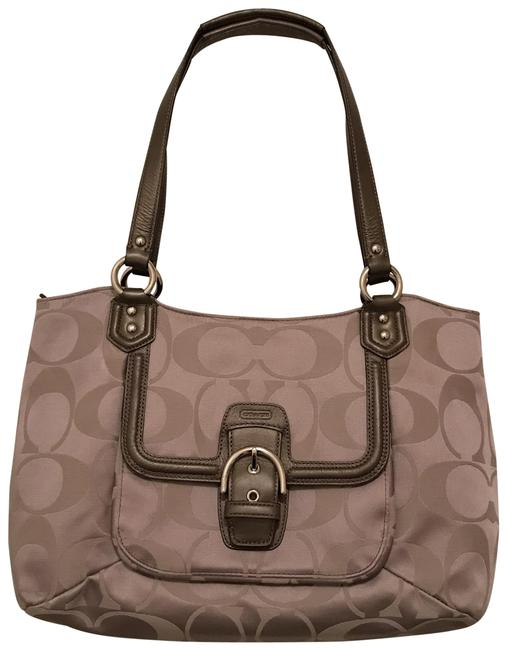 Item - Campbell Signature Belle Caryall F25294 Beige Gray Silver Canvas Tote