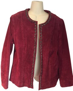 Hal Rubenstein Suede Coat maroon Leather Jacket