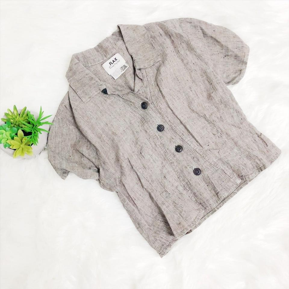 FLAX Brown Omen's Linen S/S Button Up Shirt Blouse Size 4 (S)