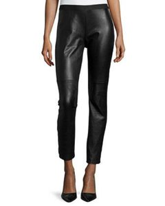 Eileen Fisher Leather Lambskin Ponte Blocked Leggings Skinny Pants Black